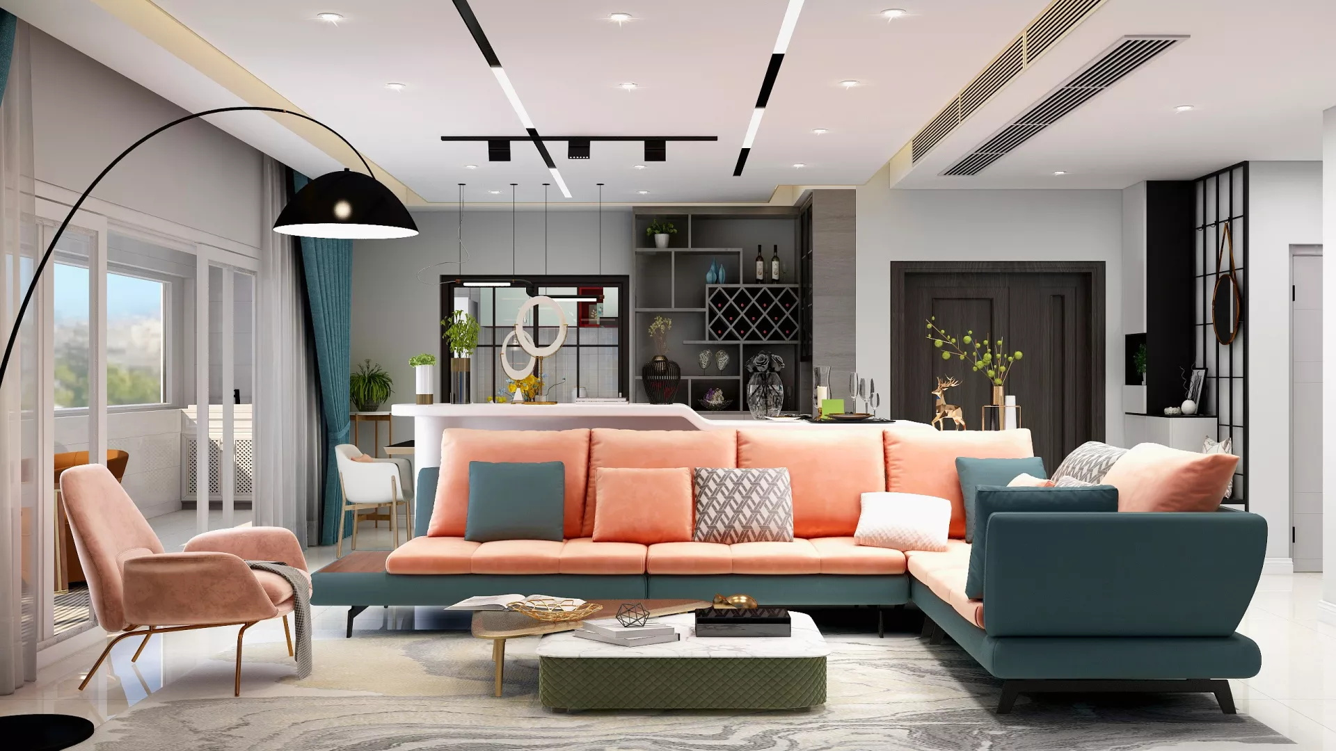 小户型混搭风格公寓装修设计效果图