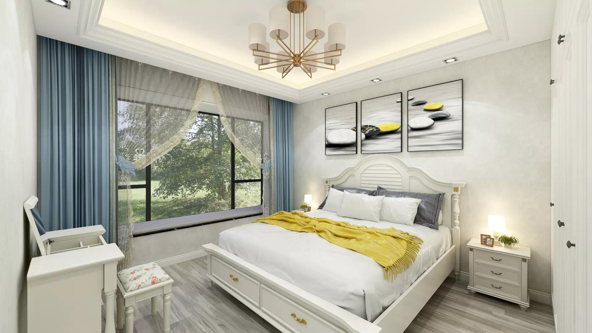 唯美清爽简欧风格设计二居室装修效果图