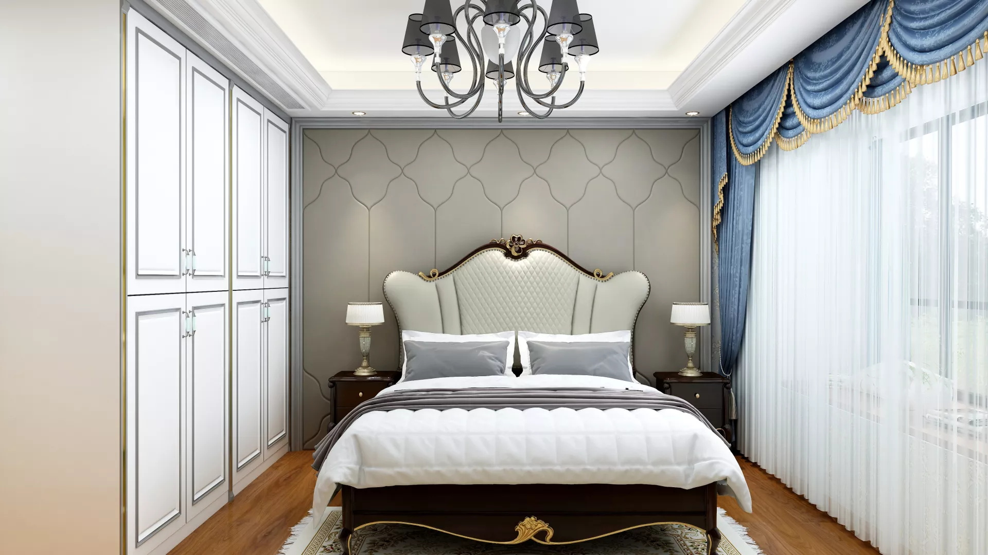 简约白色风格卧室装修效果图