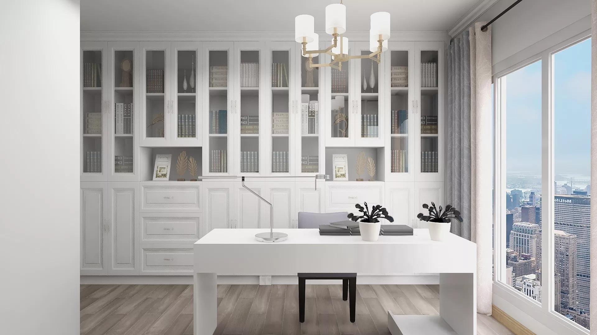 简洁清新风格开放式厨房装修效果图