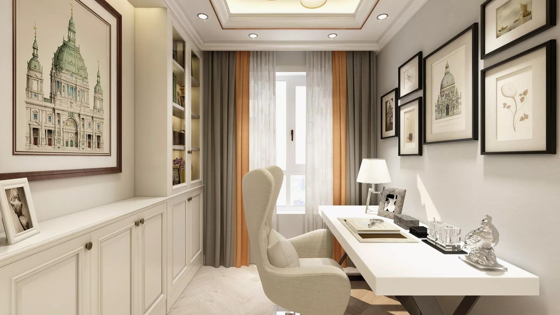 简洁白色风格客厅装修效果图
