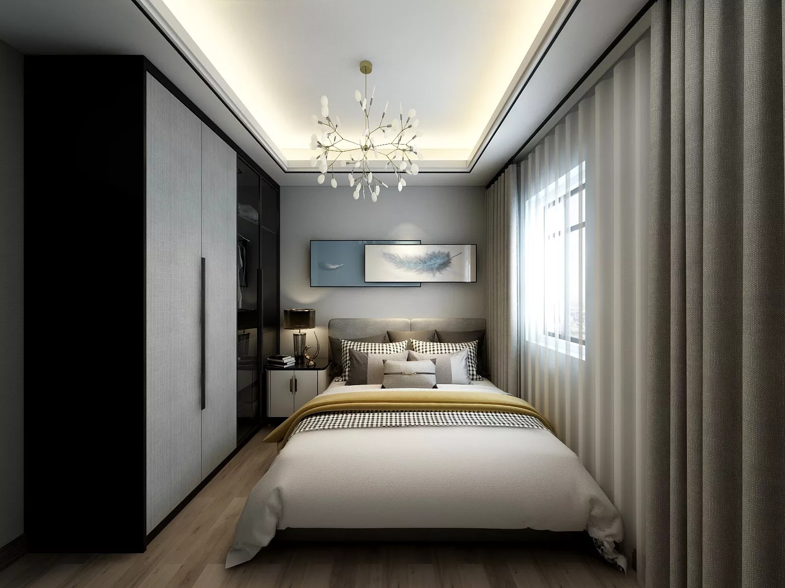 时尚黑色大气风格卧室装修效果图