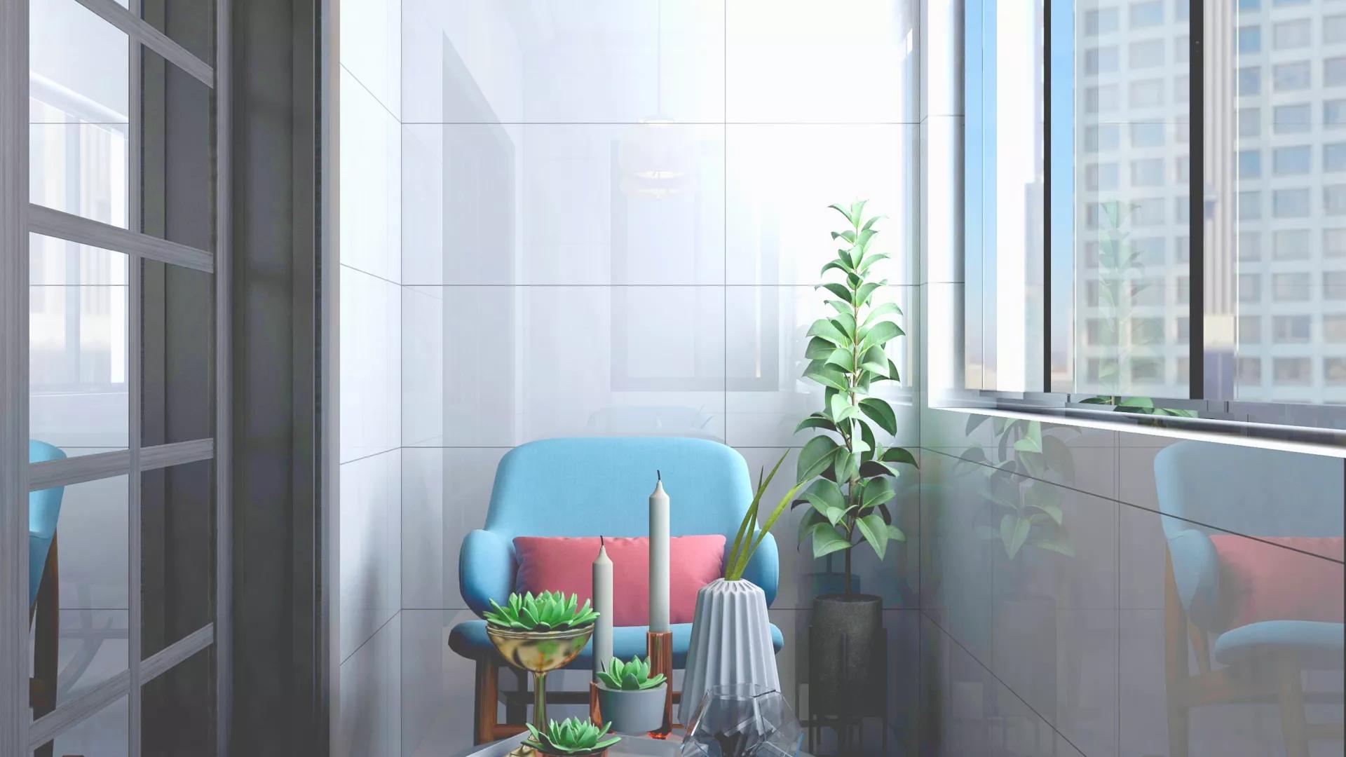 简洁工业风格家居客厅装修效果图