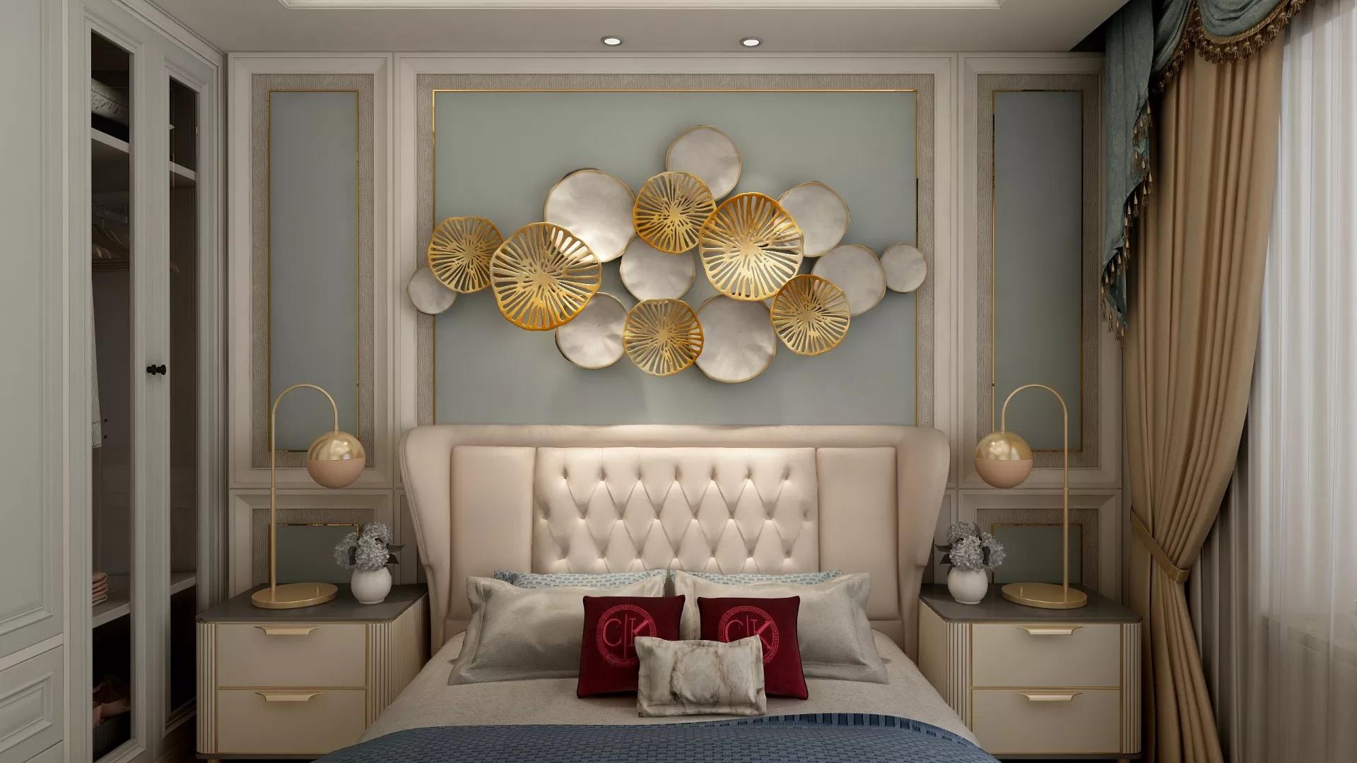 富裕型精装温馨舒适型卧室床装修效果图