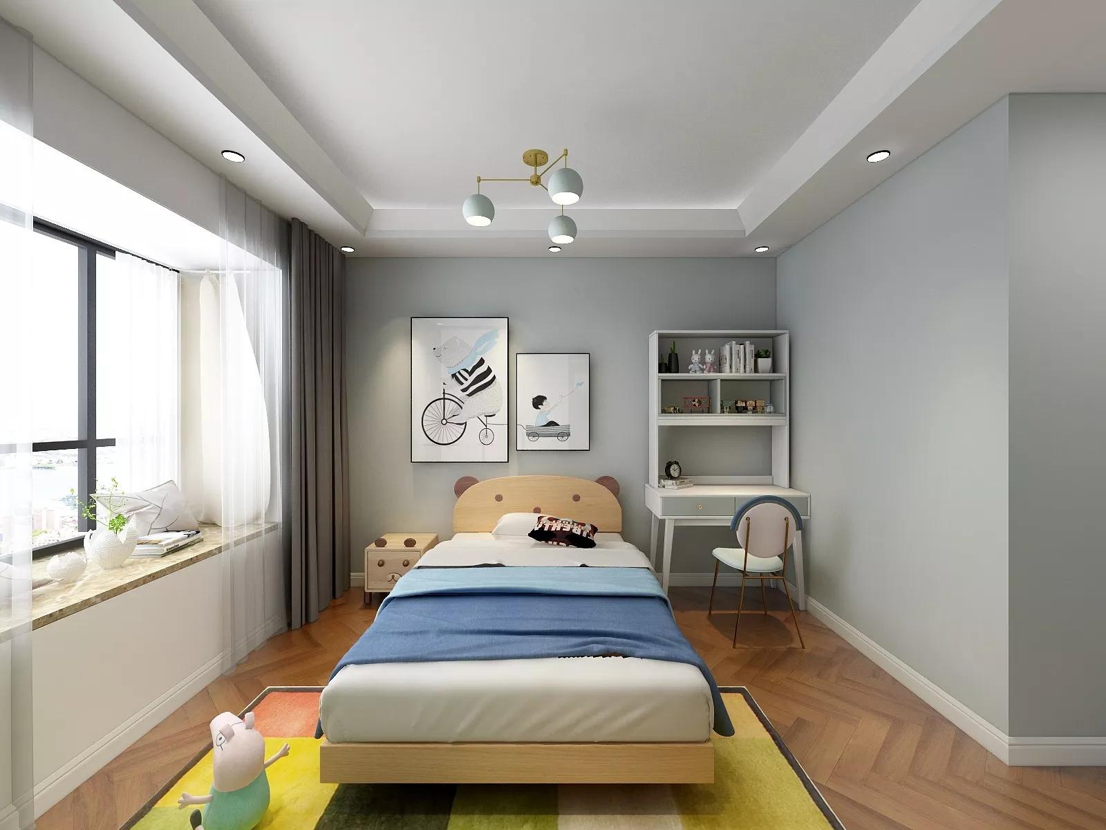 宜家风格时尚型客厅真皮沙发装修效果图