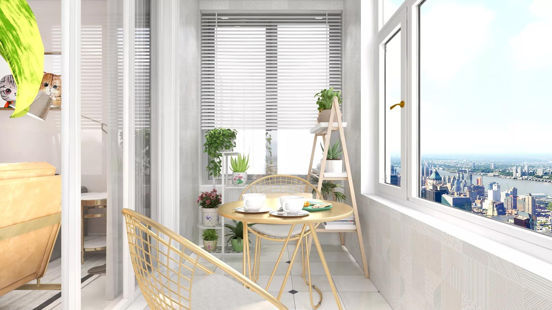 145平现代风格三居室阳台装修设计效果图