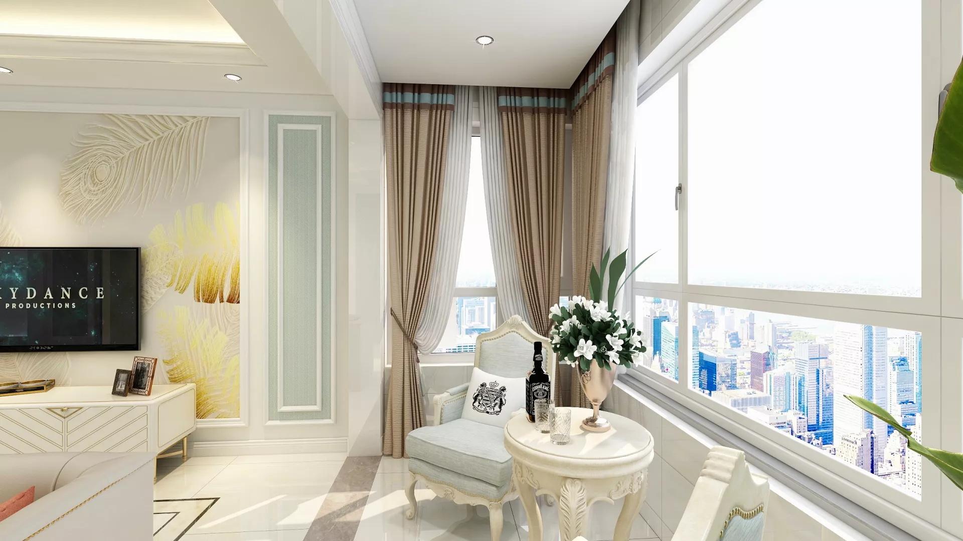 89㎡个性时髦小公寓客厅装修效果图