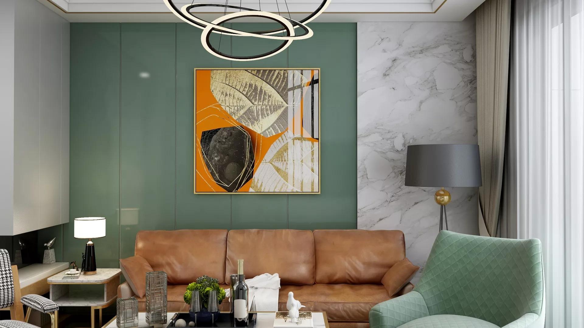 90㎡简约朴雅文艺客厅背景墙设计图