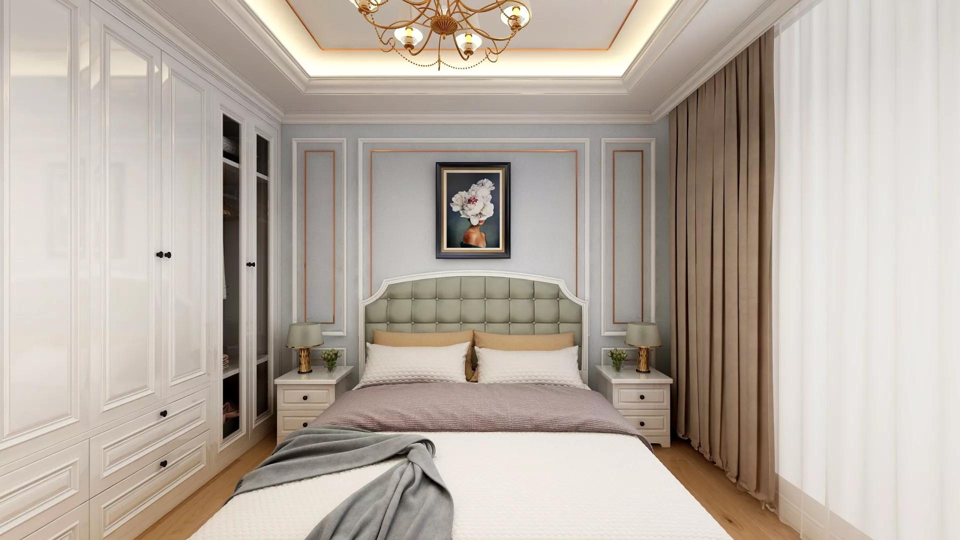美式复古田园风沙发背景墙卧室卫生间装修效果图