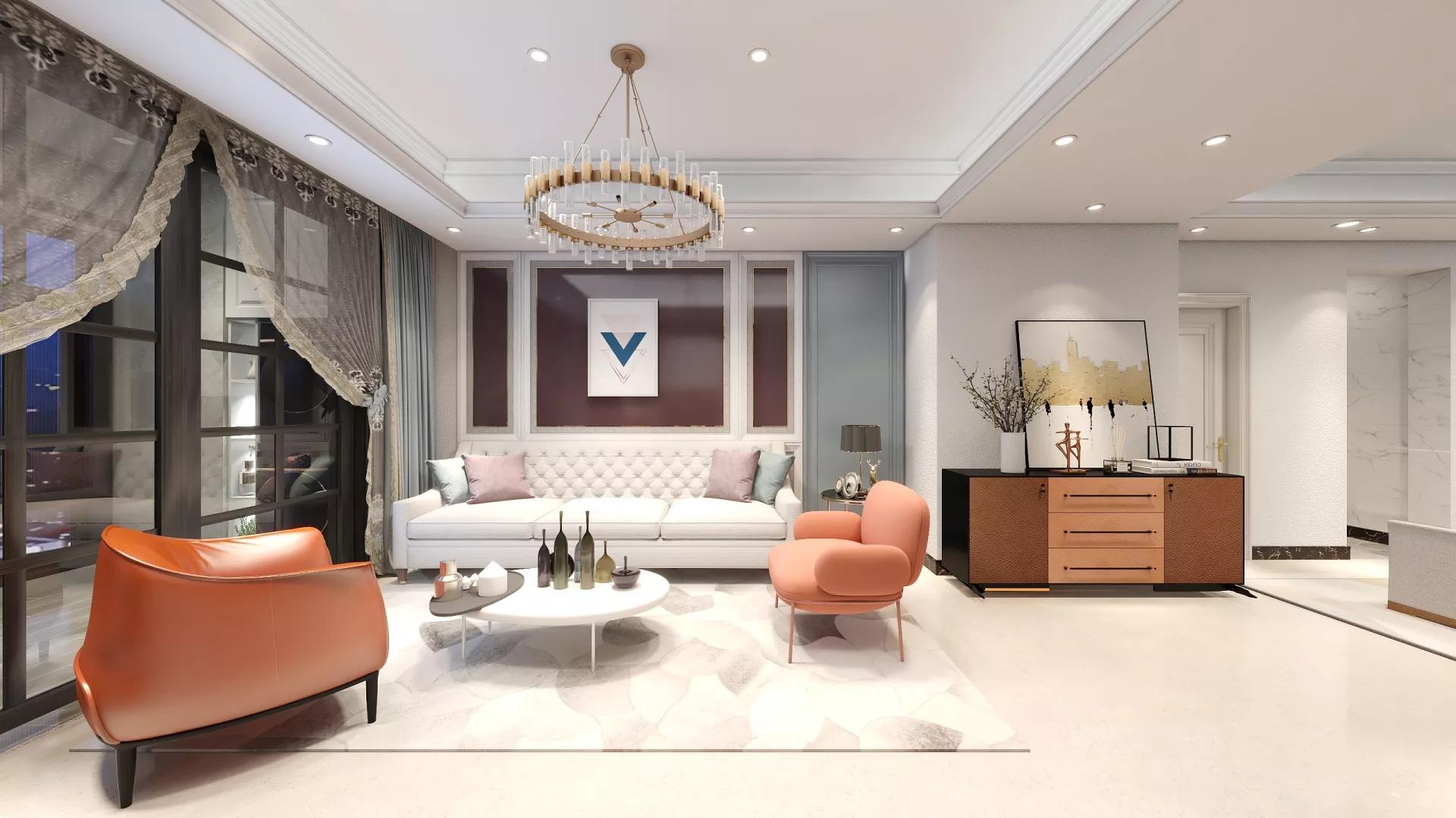 简洁暖色调风格客厅装修效果图