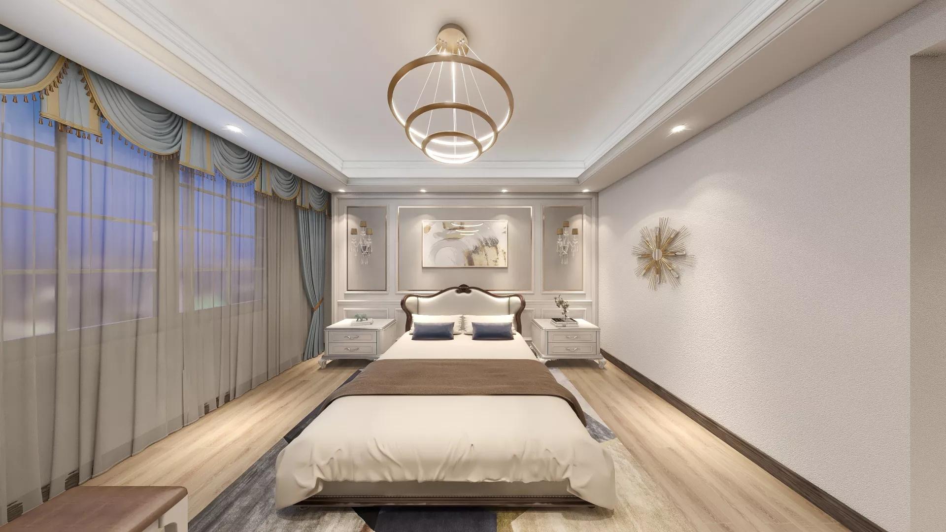 蓝色北欧风格三居室装修效果图