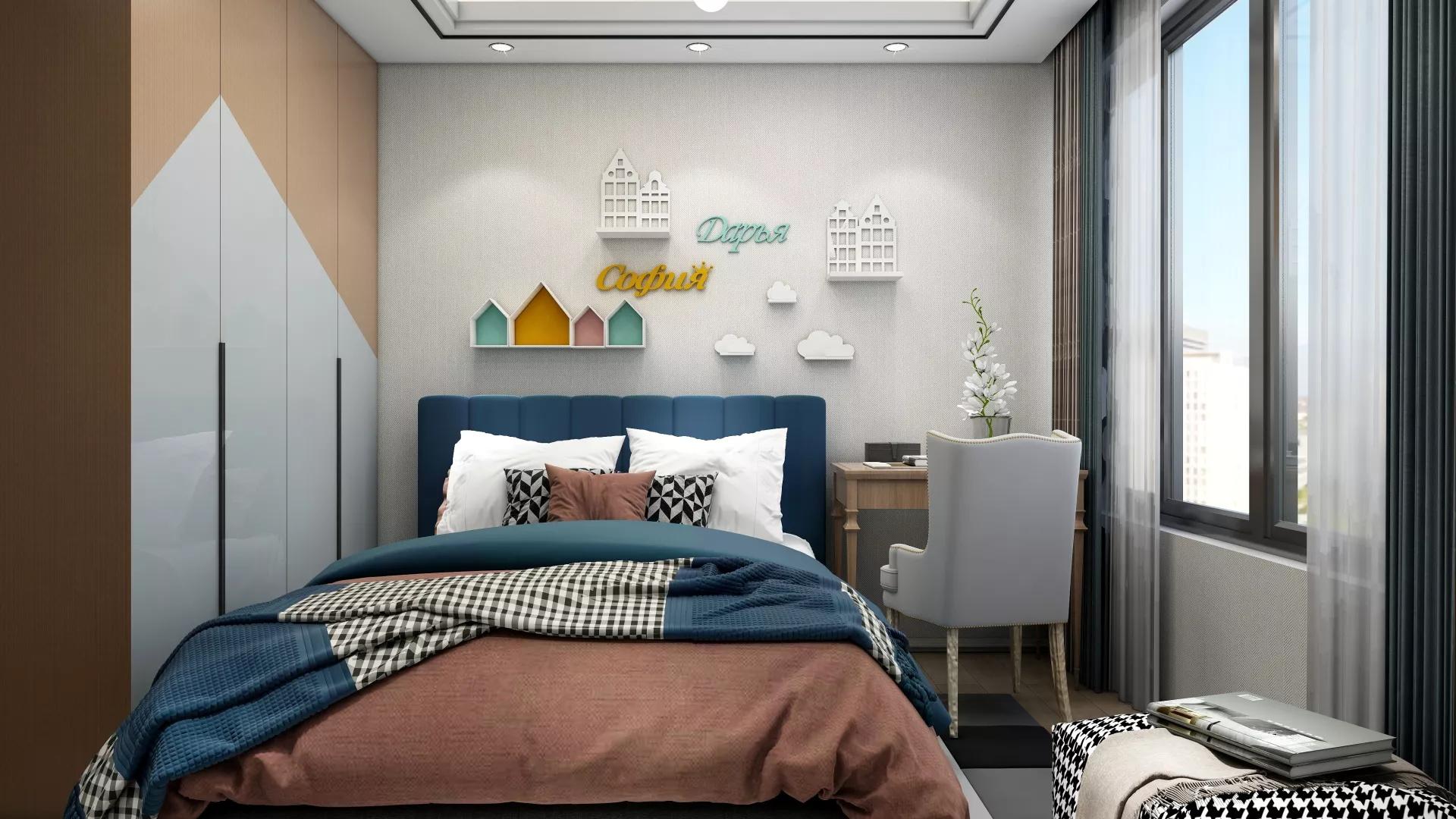 120平简约风格复式装修家居设计效果图