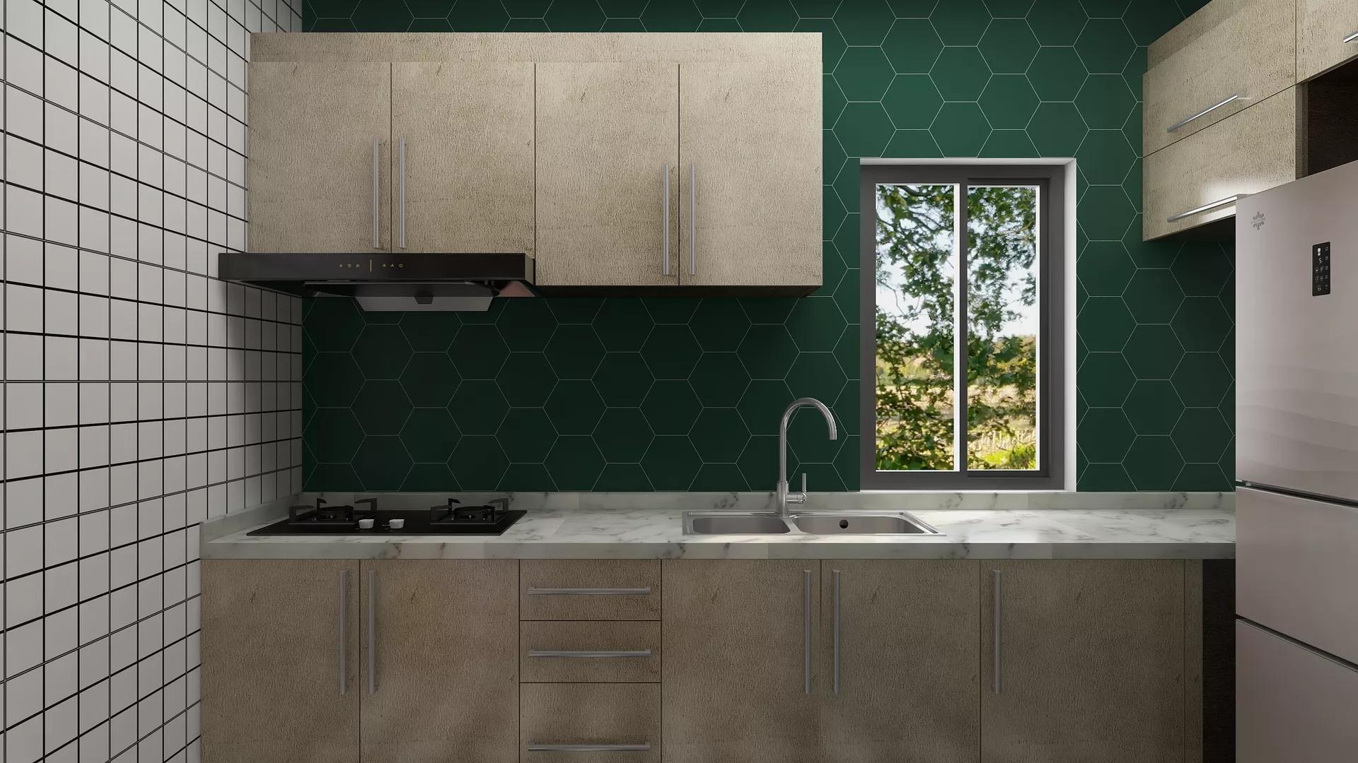 简洁温馨开放式厨房吧台设计效果图