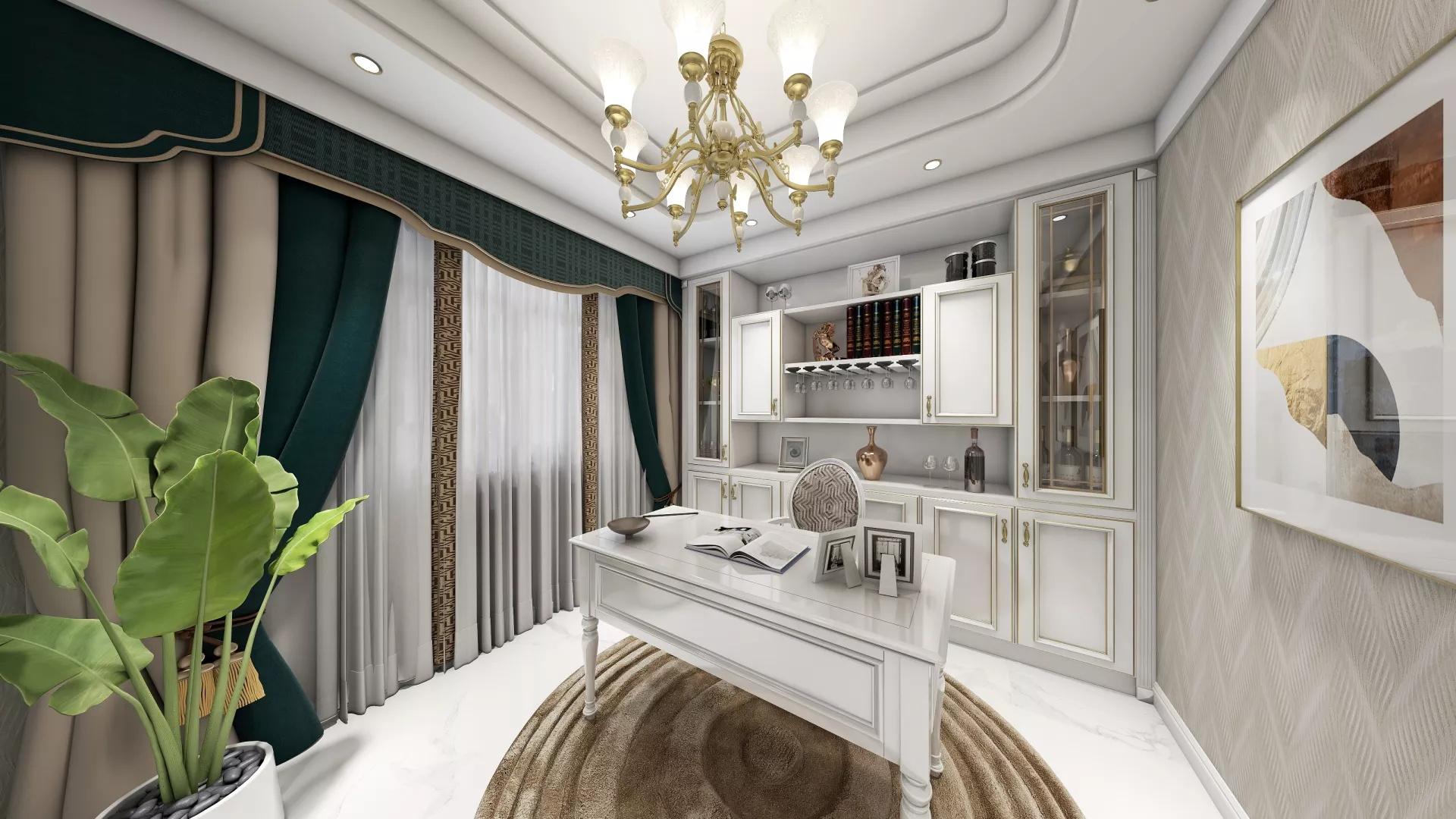 黑白简约厨房吧台设计效果图