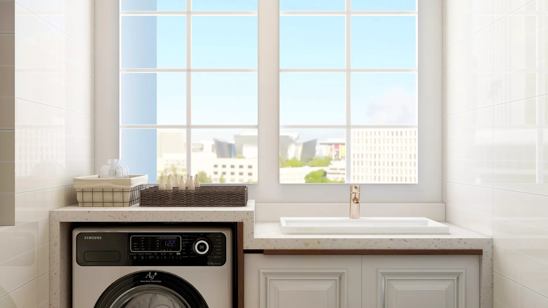现代白色风格厨房装修效果图