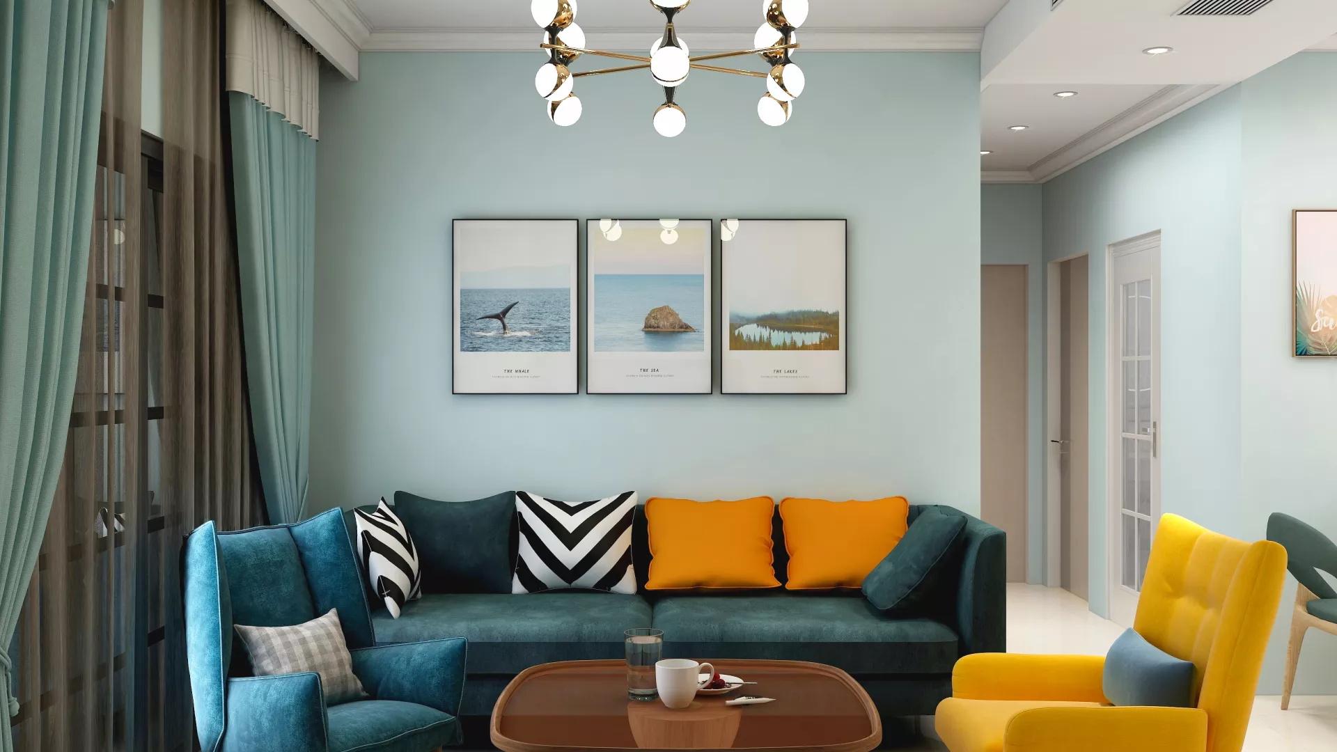 简约清新灰色风格卧室装修效果图